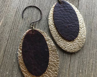 Metallic gold brown double oval earring/gold brown oval dangle earring/artisan french earwires/leather oval earring/gold leather earring/rts