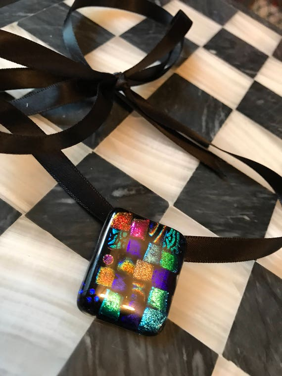 Vintage 80s metalic Rainbow Color Blocked Modern Art Glass Pendant Brooch
