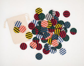 Knitted Badges - Set of three with draw string bag.
