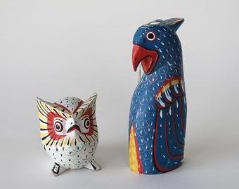 RESERVED FOR ERIKA - Vintage Set of 2 Hand Painted Hand Carved Wooden Folk Art Birds