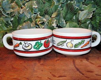 Vintage Soup Mugs, Houston Harvest, Vegetable Pattern, Home Made Soup, Set of 3 Bowls, Soup Bowls with Handles, Vintage Soup Cups
