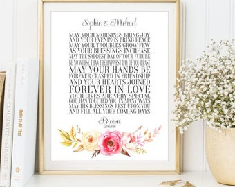 Unique Wedding Gifts Ireland : Personalized Wedding Gift sign, Irish Wedding Blessing Wall Art ...