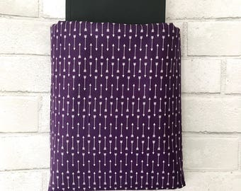Book Sleeve | Arrow Purple Print | Book Pocket Protector Pouch | Book Lover Christmas Gift Paperback Hardback Cover Bookworm