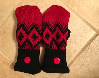 Red and black sweater Michigan mittens