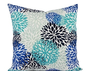 15% OFF SALE Two Outdoor Pillows - Blue Floral Pillows - Patio Pillows - Outdoor Pillow Cover - Blue Green Pillows - Custom Pillow Sham - Tu