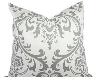 15% OFF SALE Two Damask Decorative Throw Pillow Covers - Grey and White Pillow Covers - Grey Throw Pillow - Cushion Cover Accent Pillow