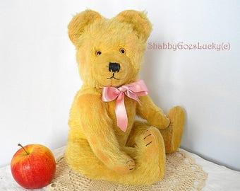 German vintage teddy bear made by R. Diem 1950s, yellow mohair teddy bear 15 inch tall, highly collectable classical antique bear
