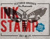 Ink Stamp Procreate Brushes - Set of 14 brushes - For the iPad app Procreate - Digital brushes - Stamp brushes - Digital art resources
