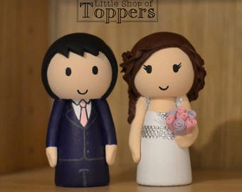 Personalised Wedding Cake Topper - Bride & Groom custom made