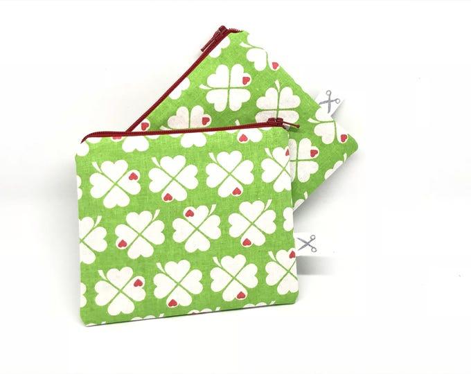 Mini zipper pouch Four-Leafed Clover