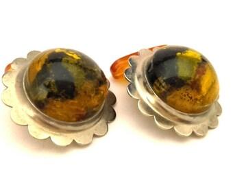 Amber Baltic Cufflinks Genuine Natural Vintage Round Golden Greenish Color 6.35 Gr