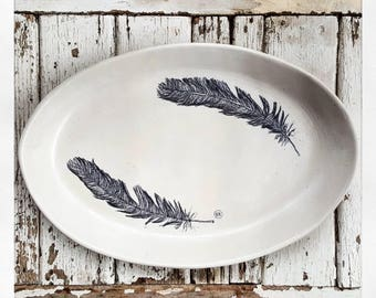 HAND SKETCHED DISCOUNTED Feather Platter
