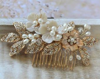 Bridal Headpiece,  Wedding Hair piece , Bridal Hair comb ,Wedding Hair comb,  Flower Hair Comb,  Gold  Pearl  Floral Headpiece, UK