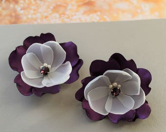 Aubergine Wedding hair flower,  Eggplant Wedding Hair Clip, Deep Purple Wedding Headpiece, Bridesmaid Hair Accessories, Hair pins, UK