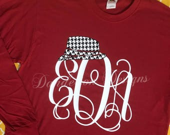 Alabama Crimson Tide Monogram Shirt Houndstooth Bear Bryant Roll Tide women's Long Sleeve