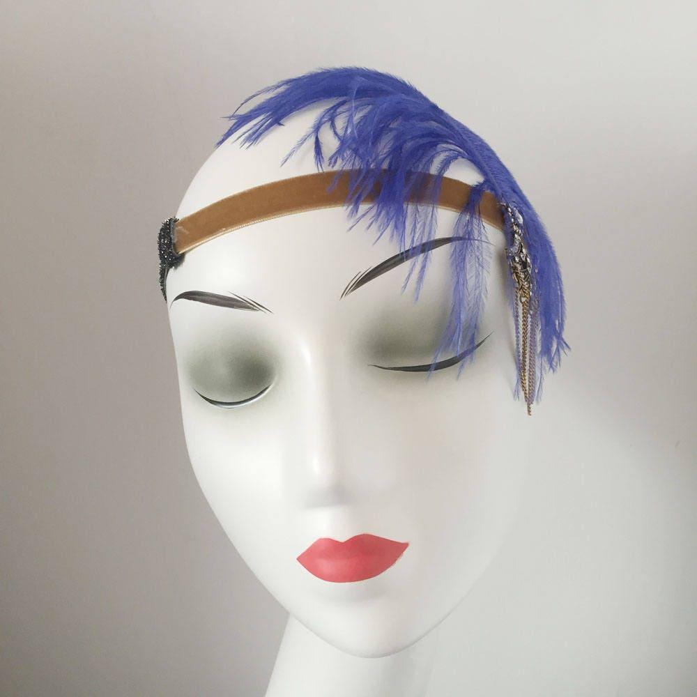 Ostrich Feather Fascinator Hair Clip Headband Gatsby Party Wedding ...