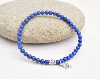 Lapis bracelet, Lapis lazuli jewelry, Gemstone bracelet, Silver bracelet, Gift for her, Stretch bracelet, Dainty bracelet, Blue bracelet