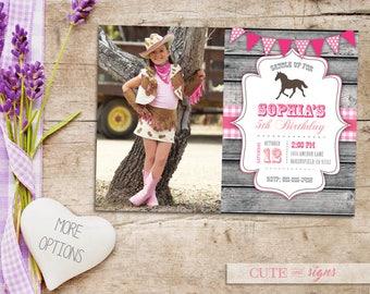 Pink country birthday invitations etsy cowgirl country horse birthday photo invitation girls western birthday invite digital download filmwisefo