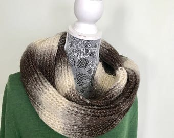 Fall Scarf - Brown Infinity Scarf - Ombre Brown Scarf - Hand Knit Scarf - Gold Sparkle Scarf - Soft Infinity Scarf - Warm Infinity Scarf