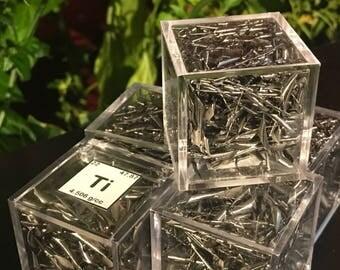Titanium Shavings in Acrylic Cube, Element 22 Sample