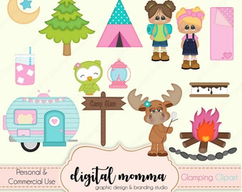 Glamping, Girls Camping Clipart, Personal & Commercial Use, Instant Download!