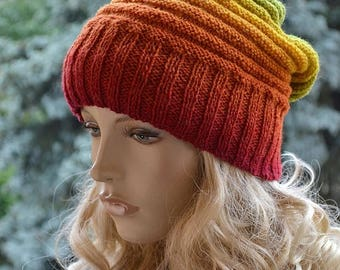 SALE 20% OFF Knitted multicolor kauni wool beanie cap hat