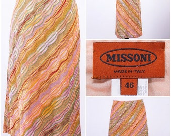 MISSONI Multi - Colored Glitter Knit Circle / Pencil Skirt