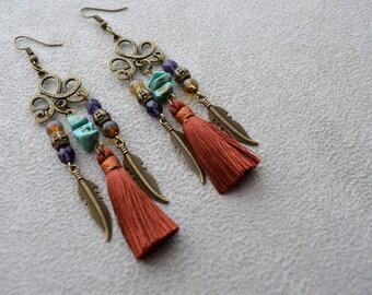 """Earrings """"Néry"""" turquoise, mint, cotton tassel Czech glass"""