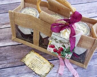 Jam Gift Basket ~ Strawberry Jam ~ Raspberry Jam ~ Blackberry Jam ~ Homemade Jam ~ Hostess Gift