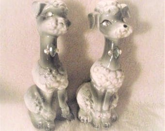 GRAY POODLE SALT and Pepper Shakers,Retro Kitschy Tall Poodle S & P Shakers,Dog,K-9,Puppy,Poodle,1950s,Ceramic Poodles,Poodle Pair,Pooch