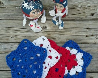 4th of July crochet star Coasters, made with cotton.