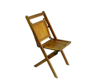 Vintage Slatted Wooden Folding Chair, Wedding Seating, Wood Folding Chair, Event Seating, Lot 9