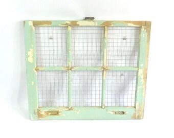 Vintage Wooden Farmhouse Window Frame Sash, Original Shabby Aqua Paint, Chicken Wire Collage Photo Display, Wedding Pics, W7