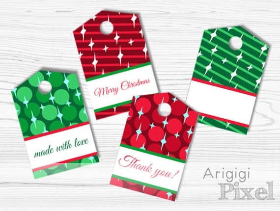 Made with Love tags to edit in Word, print at home and hang on - red green hang tags for crafts, printable PDF download