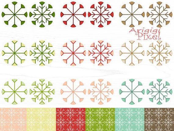 snowflakes clip art set, patterned paper, winter holiday, New Year, Christmas clipart, red green, scrapbooking printable, download