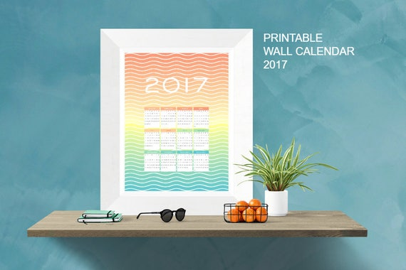 Printable Calendar 2017, wall decoration, blue orange, poster size, DIY calendar, New Year gift download