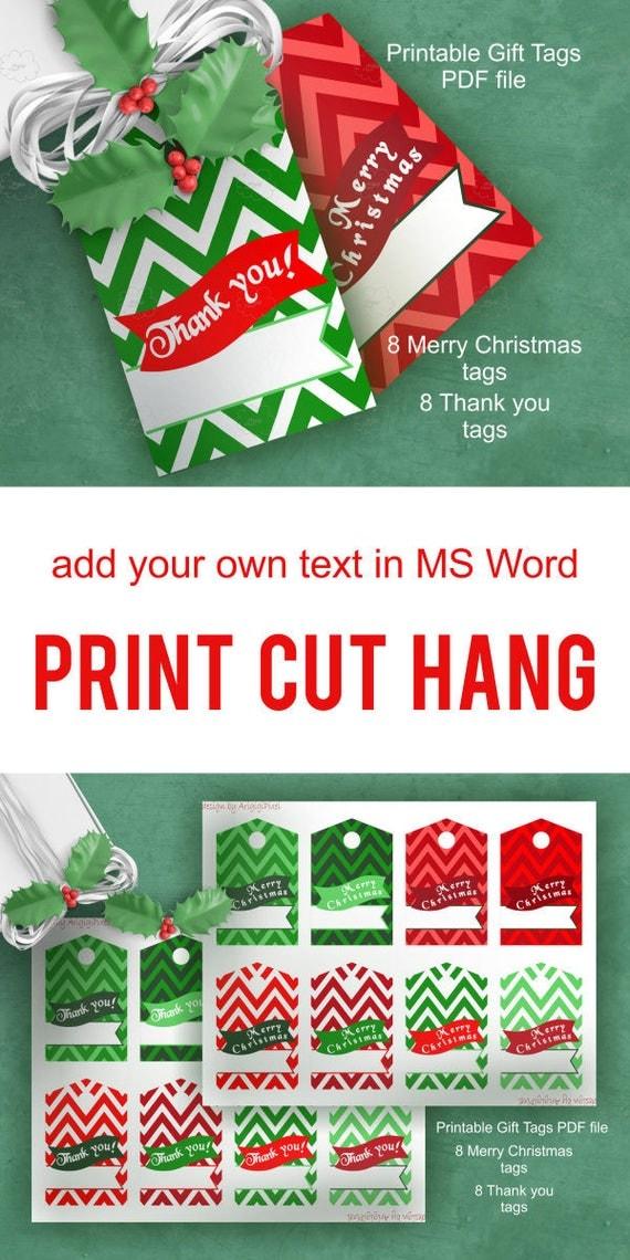 Chevron Gift Tag - Merry Christmas - Thank you - text over bunting - printable