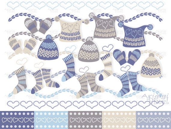Winter clipart set - caps, socks, mittens clip art + digital papers - blue