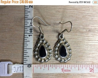 10% OFF 3 day sale Vintage 925 Sterling Silver 8.3g Black Onyx Teardrop Earrings Signed Used