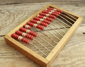 "Vintage children abacus / plastic Abacus with wooden board / 8.5"" x 5.3"" /  Soviet school Calculator"