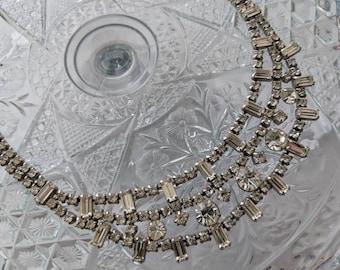 Bibbed Rhinestone Necklace, Vintage 1950s
