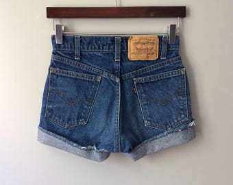 Levi's 505 High Waisted Shorts Vintage Levis Cut Off Short Levi Shorts High Waist Denim Cutoffs Distressed Orange Tab Jean 26 0 2 XS X-Small