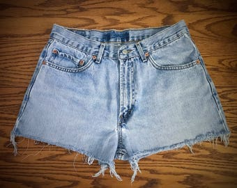 Levi's High Waisted Shorts Vintage Levis Cut Off Short Levi Shorts High Waist Denim Cutoffs Distressed Red Tab Jean Size Medium Large 8 10