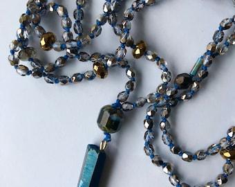 boho necklace, quartz pendant dark quartz necklacequartz dark blue necklace
