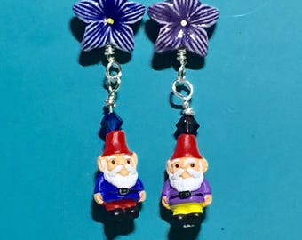 Purple & Navy Gnome Earrings