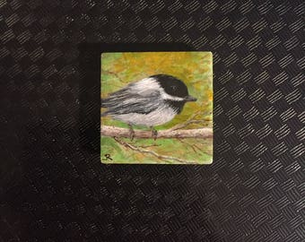 "2""x2"" Tile Painting - Chubby Chickadee"