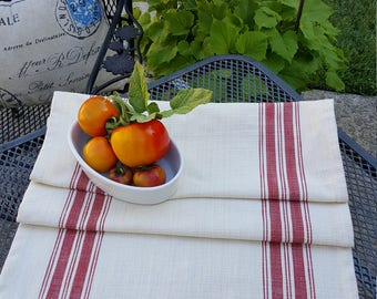 French Farmhouse Table Runner|French Country|Red Striped Table Runner| Faux Grain Sack Runner|Cottage Table Runner|