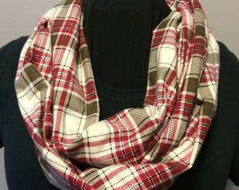 Cranberry Red Tan and Cream Plaid Flannel Cotton Fabric Infinity Scarf