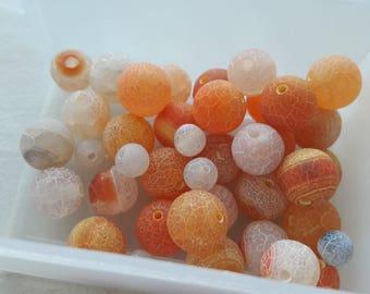 set of 20 antique agate, Brown pearl beads orange