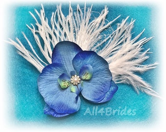Blue orchid flower hair clip, bridal hair clip, french netting and ostrich feathers hair clip.  Something blue.